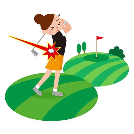 女性は、ゴルフでけがをしました。 写真素材 - 63209258