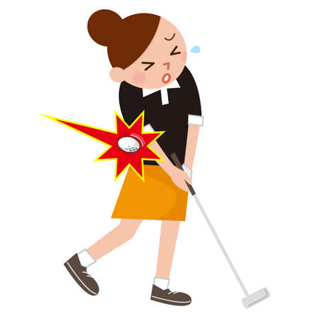 女性は、ゴルフでけがをしました。
