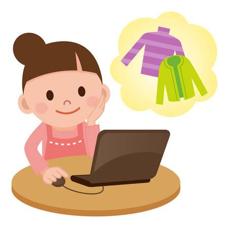 인터넷 쇼핑의 그림 일러스트