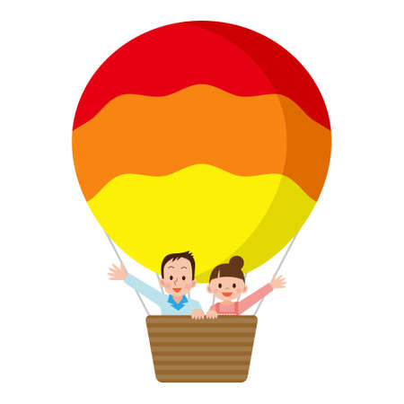 asian couple: Couple riding a balloon Illustration