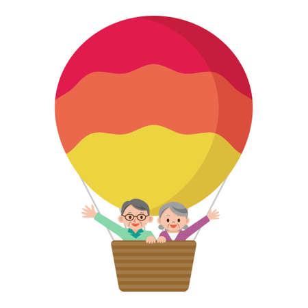 asian happy family: Senior couple riding a balloon