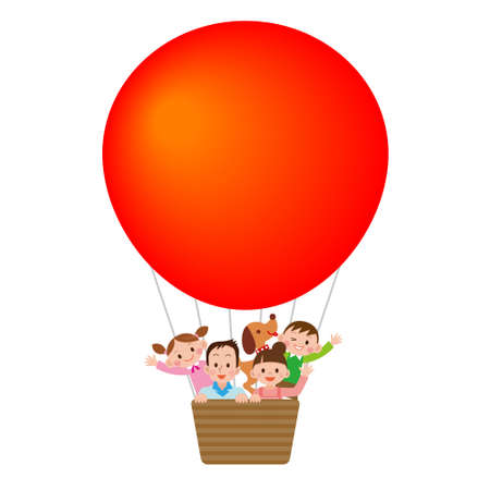 Family riding a balloon Illustration