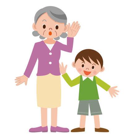 Senior žena slyší