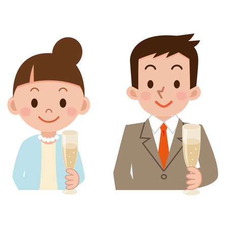 dinner date: Couple with a glass Illustration