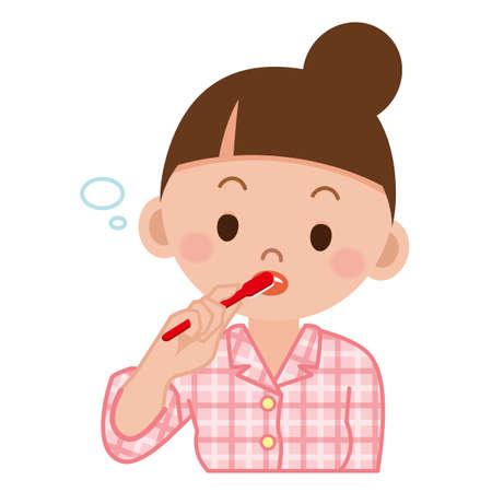 Woman brushing teeth Stock Illustratie