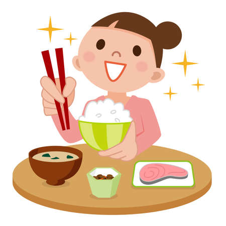 Woman eating delicious meal Illustration