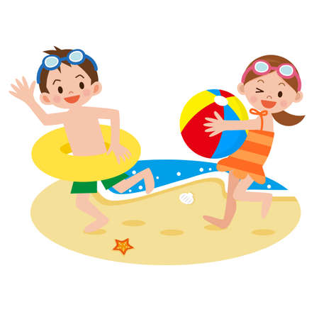 beach ball girl: Children playing on the beach Illustration