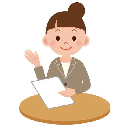 explains: Business woman who explains Illustration