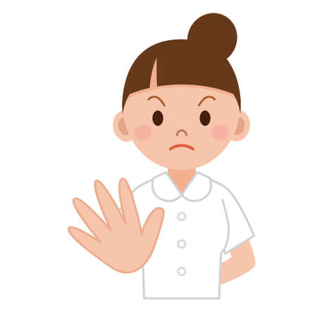 interdiction: image lumineuse de attrayante médecin montrant femme arrêt geste Illustration