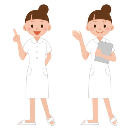 Young nurse pointing the index finger up, guiding information, with a clipboard