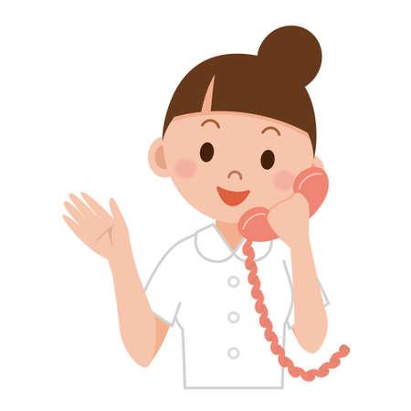 Portret van een vriendelijke vrouwelijke verpleegkundige met behulp van een telefoon
