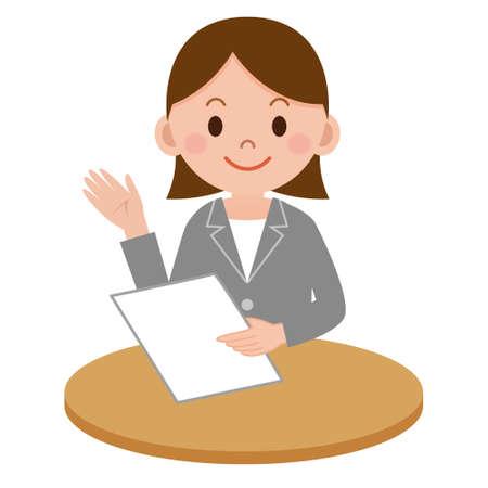 Business woman who explains Illustration