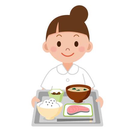 comidas: enfermera joven que lleva una comida