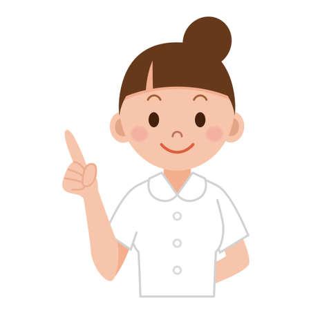 Junge Krankenschwester, die oben den Zeigefinger zeigt