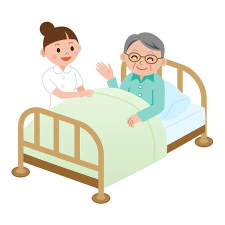 Hospital care: Nurse and senior man