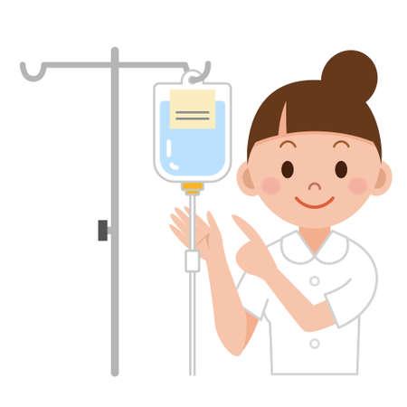 Nurse preparing IV drip Illustration
