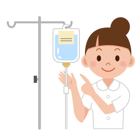 Nurse preparing IV drip Stock Illustratie