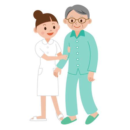 Nurse helping an elderly man with walker