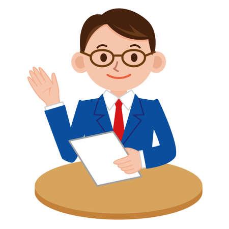 Businessman who explains Vektoros illusztráció