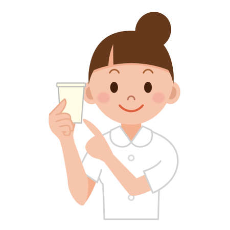 urine: Young female doctor in white workwear with keeping urine to analysis Illustration