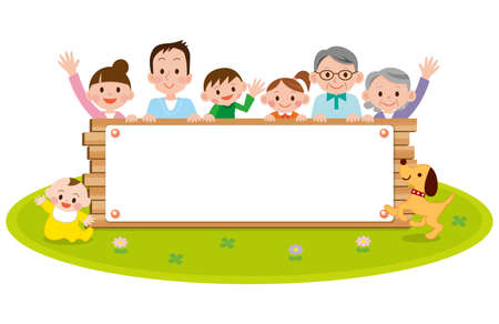 Family peeping behind placard Illustration