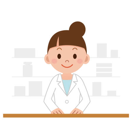 Happy cheerful pharmacist chemist woman standing