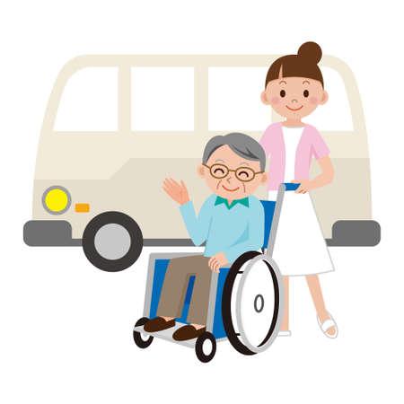 Nurse to pick a senior man in a wheelchair