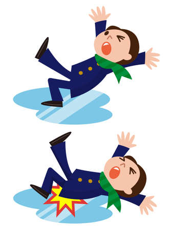 hombre cayendo: El hombre se resbala y se cae en el camino nevoso Vectores