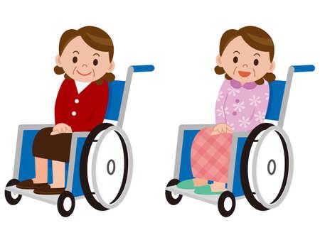 Portrait of senior woman in wheelchair Vetores