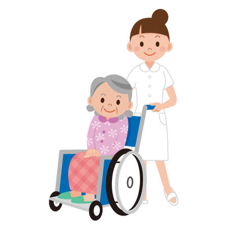 hospital ward: Patient in a wheelchair next to a nurse in hospital ward