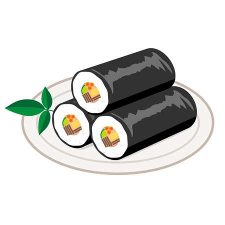 寿司ロールに分離ホワイト バック グラウンド  イラスト・ベクター素材