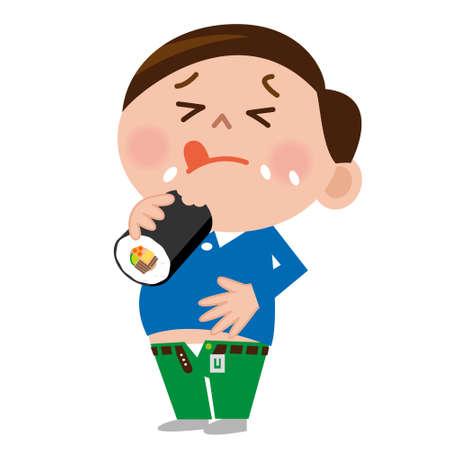 japanese ethnicity: Man eating sushi rolls