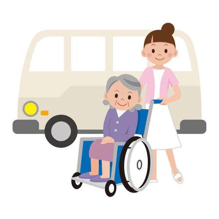 malady: Nurse to pick a senior woman in a wheelchair Illustration