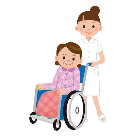 Il paziente in una sedia a rotelle accanto a un infermiere in reparto ospedaliero
