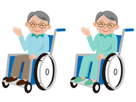 hospital patient: Male patient in a wheelchair in hospital