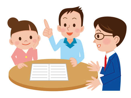 Young couple discussing investment plans with financial advisor Illustration