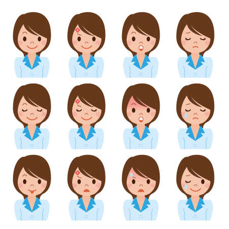 woman white shirt: Businesswoman expression of multiple