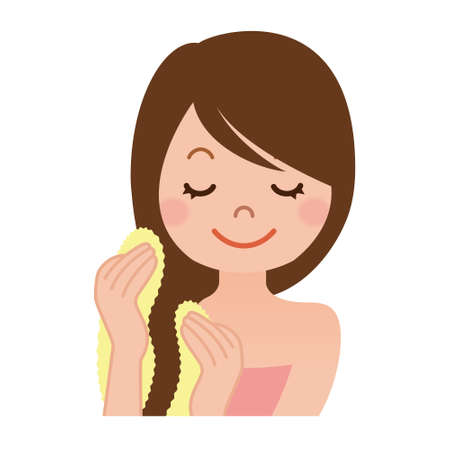 wipe: Woman with a towel to wipe the hair bathing Illustration
