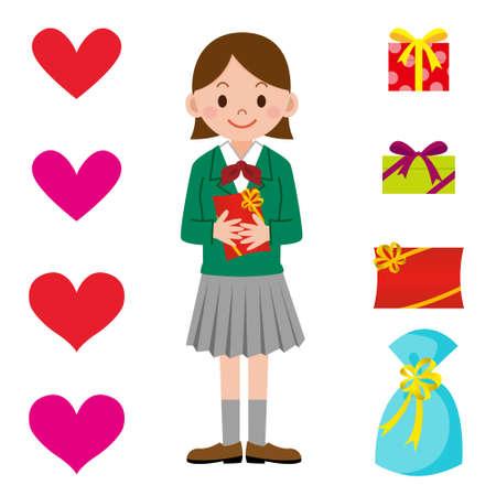 asian student: Schoolgirl and Valentine