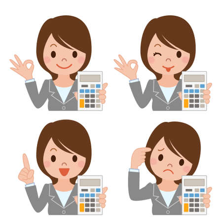 deficit: Businesswoman with a calculator