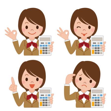asian student: Schoolgirl with a calculator Illustration
