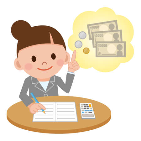 Illustration Featuring a Female Accountant Computing