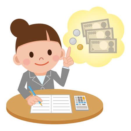Illustration mettant en vedette un comptable femelle informatique Vecteurs