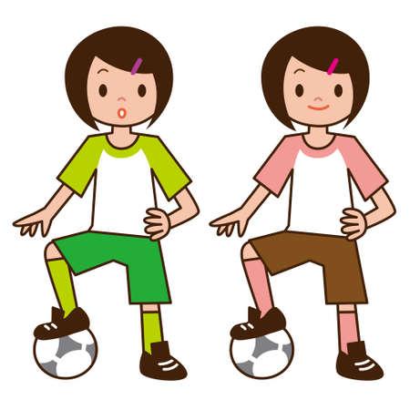 asian student: Little girl playing football Illustration