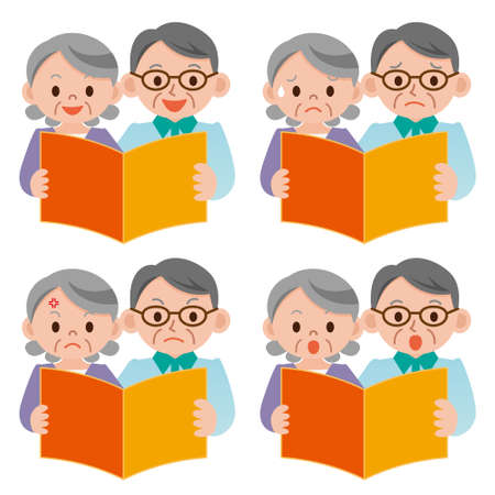 back to back couple: Senior couple View the catalog Illustration