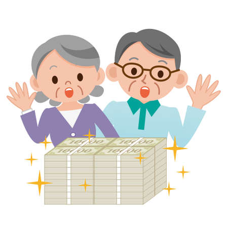 Elderly couple that surprised a lot of money Illustration