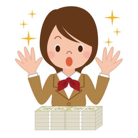 Woman surprised to big bucks Illustration