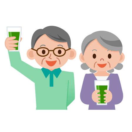 senior couple: Senior couple drinking vegetable juice Illustration