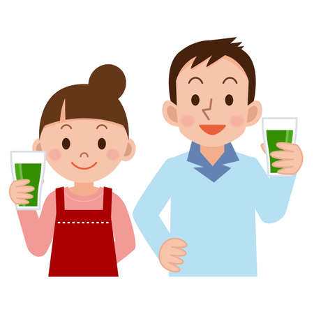 family together: Couple drinking vegetable juice
