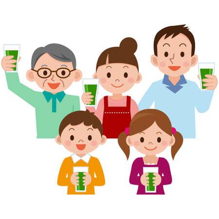 niños desayunando: beber jugo de vegetales de la familia